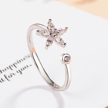 韩版女神气质闪耀锆石花朵戒指指尖魅力