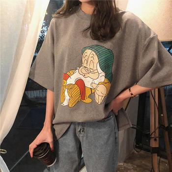 露雪卡通短袖T恤女春夏新款宽松韩版下摆开叉打底衫