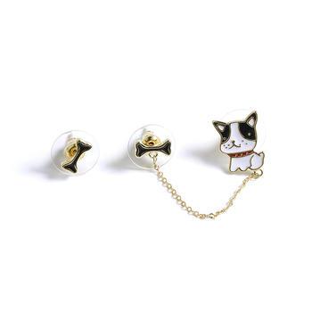 CROCUS 时尚创意不对称小奶狗骨头流苏情侣款耳钉52489