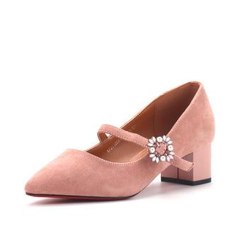 珂卡芙春季女鞋舒适中跟粗跟尖头纯色套脚休闲单鞋