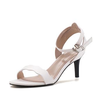珂卡芙凉鞋女新款夏季一字扣高跟鞋子女时尚粗跟凉鞋