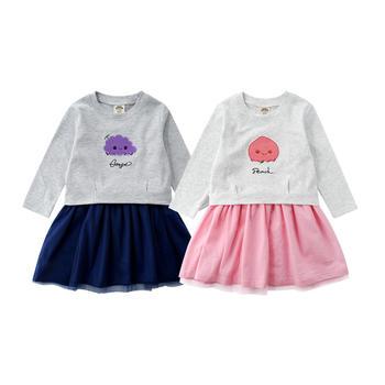 minizone春夏秋女童长袖T恤+公主纱裙