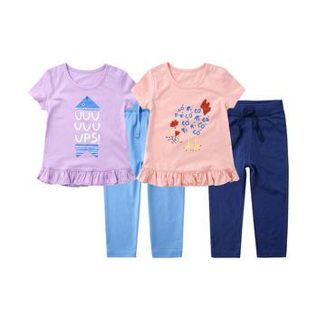 minizone女童夏季淑女风短袖T恤+裤子2件套