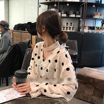 XYMZ 2019韩版V领羽毛波点蕾丝衬衫女上衣打底衫