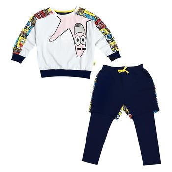 海绵宝宝童装女童针织长袖套装 春秋装款
