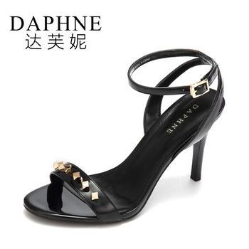 Daphne/达芙妮?#33041;餐?#38706;?#22909;?#38025;交叉扣带超高跟凉鞋
