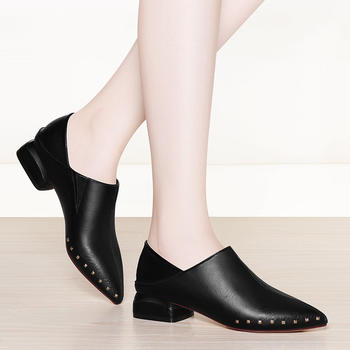 春季单鞋春款平底尖头浅口小皮鞋
