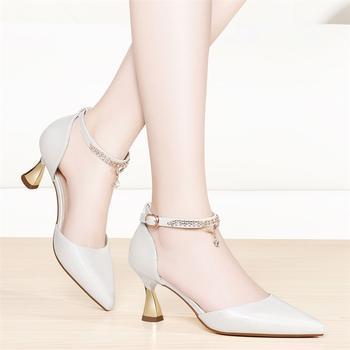 女春季新款气质仙尖头细跟高跟鞋