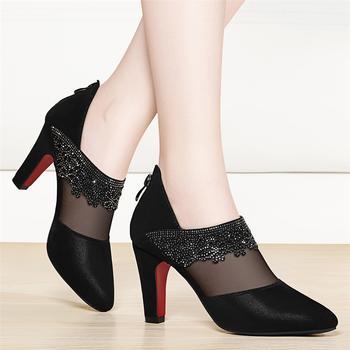 女网纱时尚韩版百搭细跟高跟单鞋