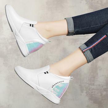 女春款内增高女鞋真皮运动休闲鞋