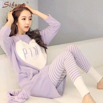 啵啵纯韩版新款睡衣女长袖春秋季女款可爱家居服套装