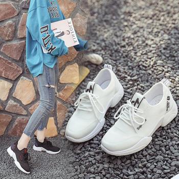 安欣娅新款透气网面时尚系带百搭运动鞋