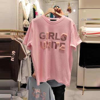 鸿畅 2019新款韩版纯棉毛绒字母短袖T恤时尚宽松上衣潮