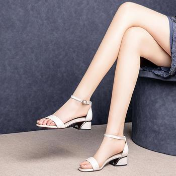 慕沫夏季新款凉鞋真皮一字扣带高跟鞋露趾罗马鞋女鞋