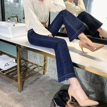 春装阔腿牛仔裤女高腰宽松直筒长裤时尚W201907宽脚