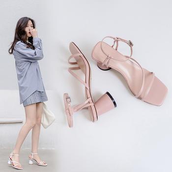 慕沫夏季新款凉鞋简?#21363;指?#19968;字扣带仙女鞋露趾罗马鞋