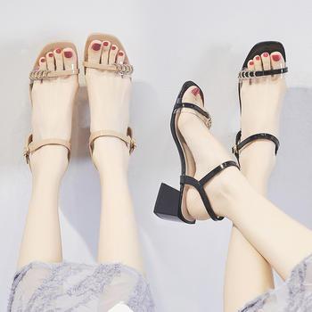 ZHR新款露趾一字扣方头?#25351;?#20937;鞋女超火网红ins高跟鞋