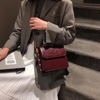 宾尼兔2019新款时尚复古铆钉女包单肩斜挎链条包
