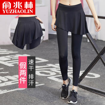 俞兆林个性瑜伽长裤假两件不规则裙裤运动裤健身
