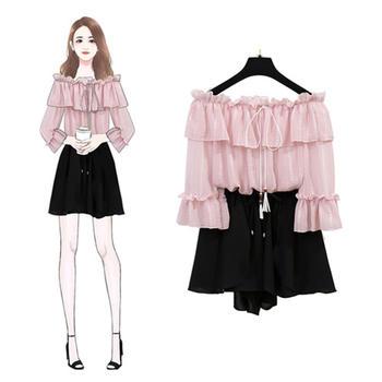 新款甜美套装小众雪纺一字肩套装圆领挂坠上衣裙两件