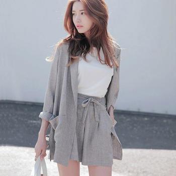 棉麻七分袖小西装薄外套阔腿短裤两件套装时尚