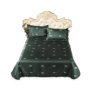 明瑟mingse可水洗柔软透气冰丝凉席时尚小调-墨绿