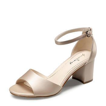 卓诗尼夏款高跟凉鞋时尚休闲一字式扣带女鞋