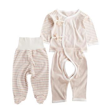 谷斐尔GOPHER彩棉纯棉新生儿宝宝和尚服高腰裤三件套