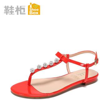 达芙妮旗下女鞋水钻平底蝴蝶结夹脚女凉鞋1717303047