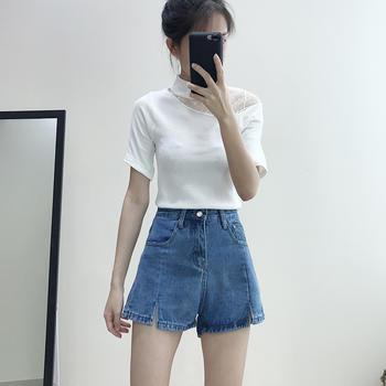 兰菲201韩版春夏新款高腰显瘦个性开叉A字热裤