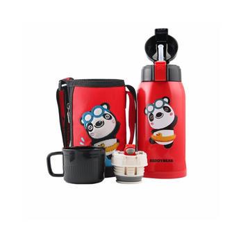 杯具熊 儿童带吸管一杯双盖316不锈钢保温杯600ml