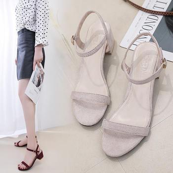 佑黛夏季新款凉鞋学生百搭?#25351;?#20013;空单鞋露趾鞋罗马鞋