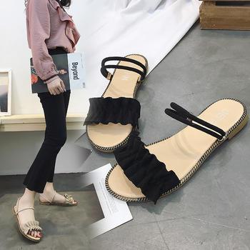艾微妮夏季新款舒适平底花边装饰平底凉鞋
