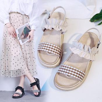 安欣娅夏季新款花朵一字式扣带格子女鞋百搭凉鞋