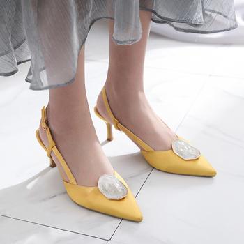 慕沫夏季新款凉鞋细跟高跟鞋一字扣带尖头罗马鞋真皮