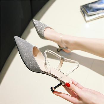 慕沫女鞋夏季新款细跟包头鞋中空凉鞋浅口尖头罗马鞋