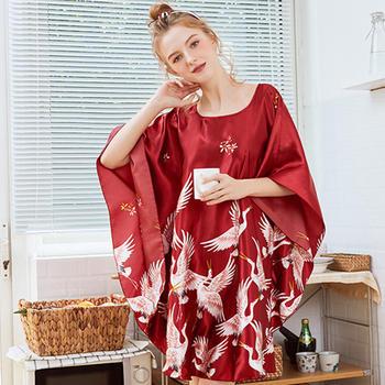 酷诺真丝性感睡衣女士夏季蝙蝠袖睡裙女夏大码家居服