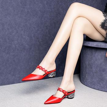 慕沫夏季新款凉鞋女真皮尖头鞋?#25351;?#25042;?#36865;?#31359;半拖女鞋