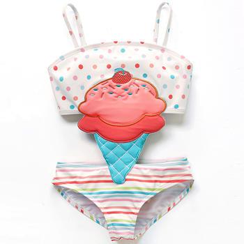 猪猪的故事卡通儿童游泳衣女童宝宝婴童连体泳衣小中