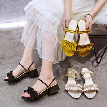 安欣娅夏季新款粗跟绒面花朵装饰两穿式凉鞋