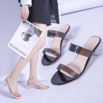 佑黛拖鞋女夏季新款露趾高跟鞋懒人外穿半拖一字拖