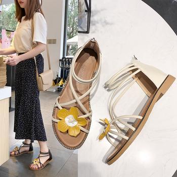 安欣娅新款花朵装饰平底休闲女鞋凉鞋