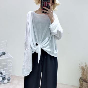 兰菲不规则时尚纯色绑带长袖宽松T恤百搭上衣女潮