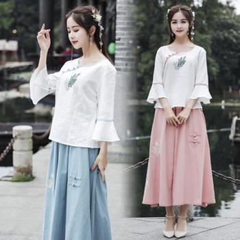 新款女装棉麻民族风圆领刺绣中袖上衣+裙子套装