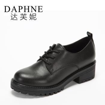 Daphne/达芙妮圆头系带英伦风平底牛津鞋女1017404069
