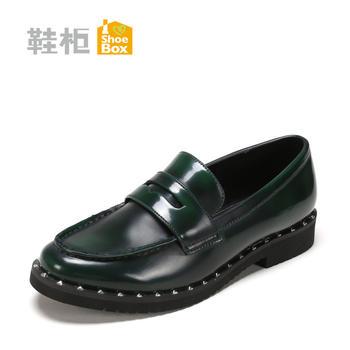 达芙妮旗下女鞋铆钉乐福鞋休闲鞋女单鞋1117404207