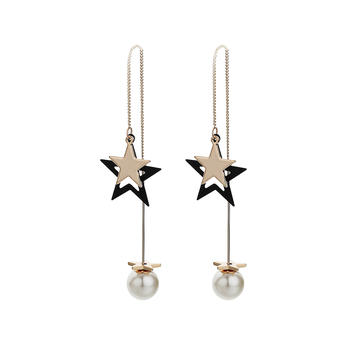 Crocus時尚創意疊層五角星造型流蘇設計女士耳釘52162
