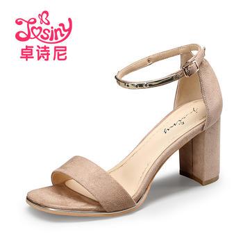 卓诗尼新款高跟女鞋?#25351;愿?#38706;趾一字扣带凉鞋124716512