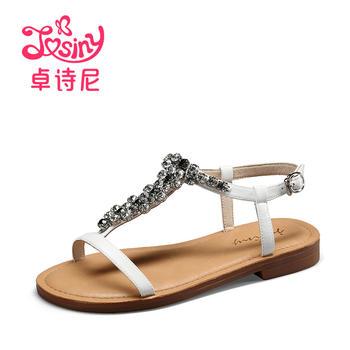 卓诗尼新款低跟平跟凉鞋休?#21368;∽质娇?#24102;女鞋144714602