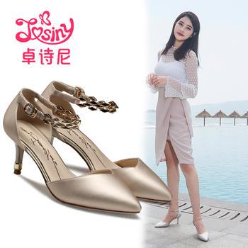 卓诗尼新款尖头高跟凉鞋女扣带金属细跟女鞋123760302